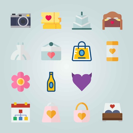 Icon set about Wedding with bottle, padlock and hand gesture