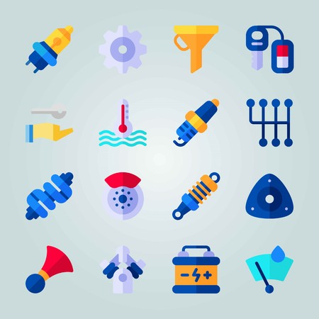 Icon set about Car Engine. with drop of rain, brake and gearshift Illustration