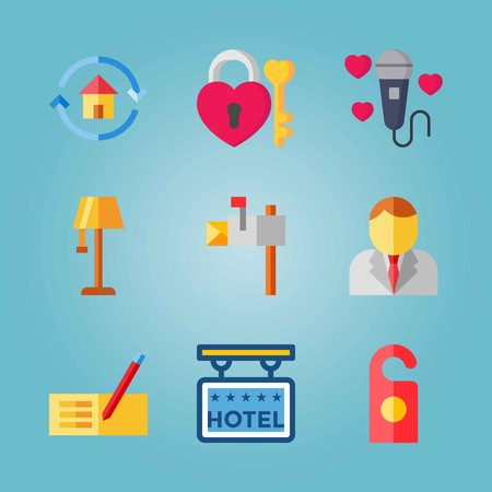 Icon set about Real Assets. with lamp, hotel and doorknob