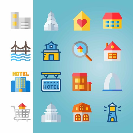 Icon set about Construction. with house, lighthouse and gateway arch
