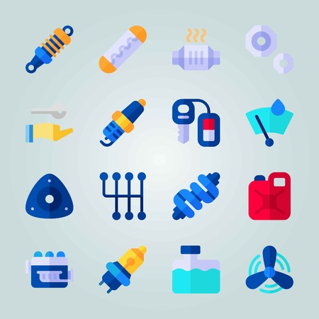 Icon set about Car Engine. with gearshift, drop of rain and stopping device Illustration