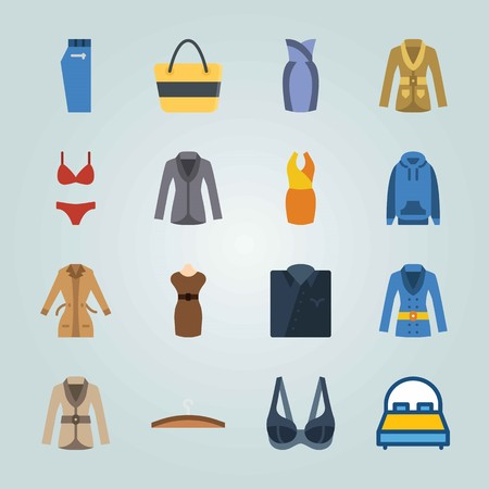 Icon set about Clothes And Accessories. with coat, hoodie and bikini Иллюстрация