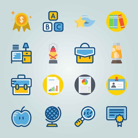 Icon set about Education And School. with cubes, file and germs