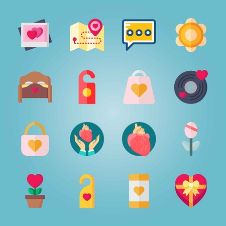 Icon set about Wedding. with hearts, bed and padlock