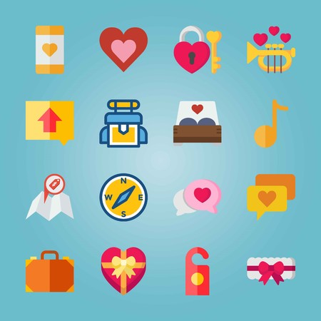 Icon set about Wedding. with note, padlock and map