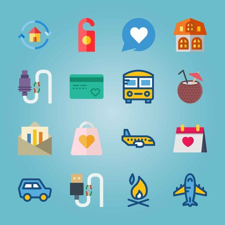 Icon set about Travel with credit card, flame and aircraft Ilustrace