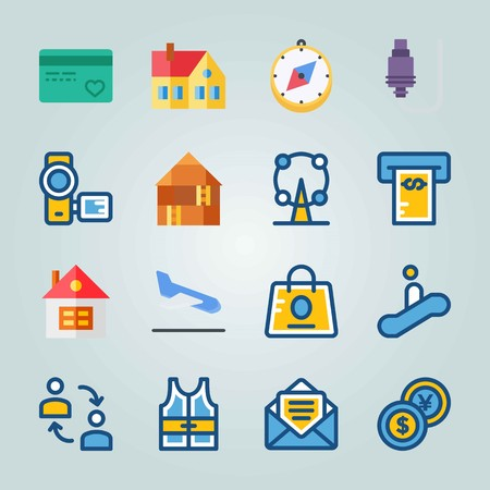 Icon set about Travel with attraction, atm and airplane Ilustrace