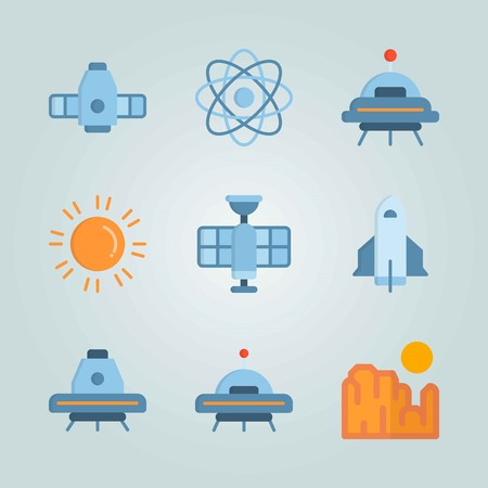 Icon set about Universe with space capsule, space craft and grand canyon