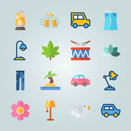 Icon set about Hippies with bird, pink car and lotus