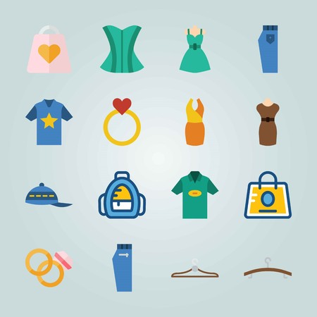 Icon set about Clothes And Accessories with jeans, baseball cap and wedding rings