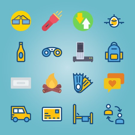 icon set about Travel with exchange, beer, airplane, connector and sunglasses