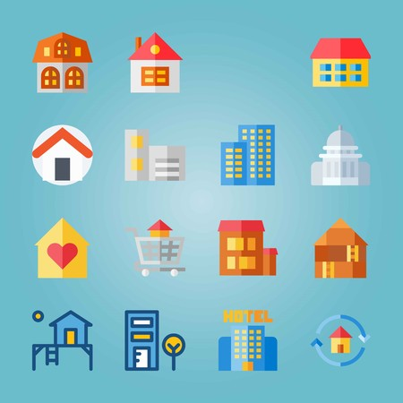 Icon set about Construction with carrier, home and telephone cab Banque d'images - 94710239