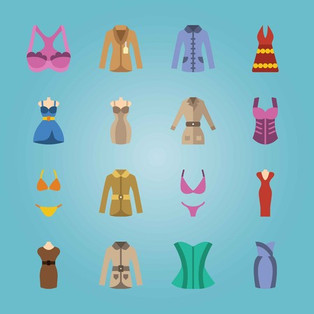 Icon set about Woman Clothes. with bikini, bra and corset Illustration