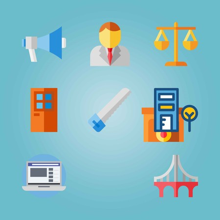 Icon set about Real Assets with businessman, door and hacksaw Illustration