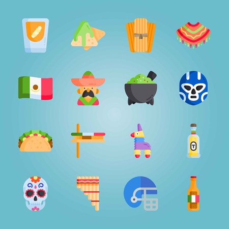 Icon set about Mexican Holiday De Mayo with matraca , Mexican alcoholic beverage and Mexican dish
