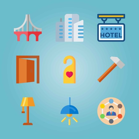Icon set about Real Assets with lamp, man and tasks and 5 stars hotel