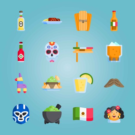 Icon set about Mexican Holiday De Mayo. with matraca , mole poblano and tequila bottle