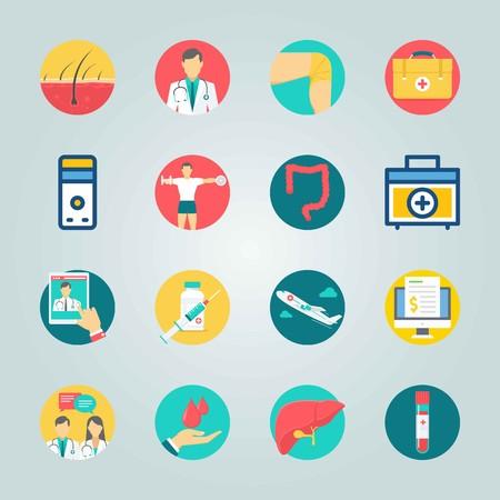 Icon set over medische met bloedmonster, bloeddruppels en factuur. Stock Illustratie