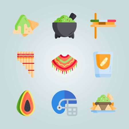 Icon set about Mexican Holiday De Mayo. with poncho, matraca and american football Illustration