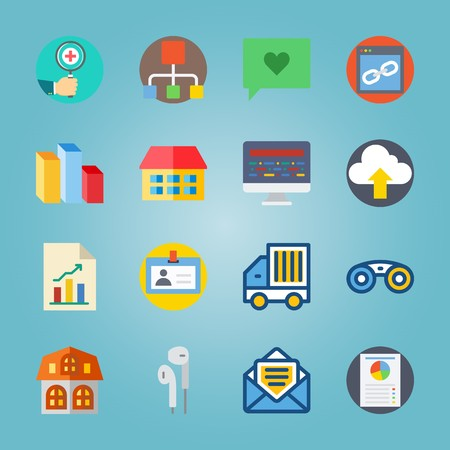 icon set about Digital Marketing with chat, distribution, glasses, delivery truck and home