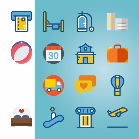 Icon set about Travel with anchor, bag and truck