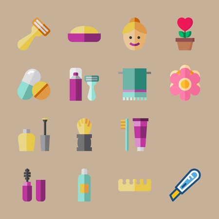 icon set about beauty with woman face, cutter and flower Ilustrace