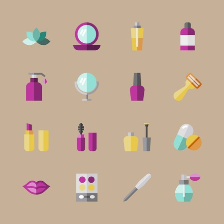 icon set about beauty with makeup set, tablet and medicine