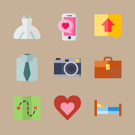 icon set about wedding with map, suit and photo camera