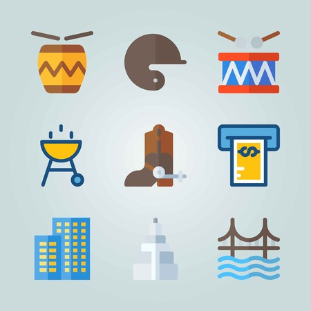 Icon set about United States. with cowboy boot, drum and baseball helmet