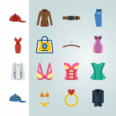 Icon set about Clothes And Accessories. with coat, red cap and dress Illustration