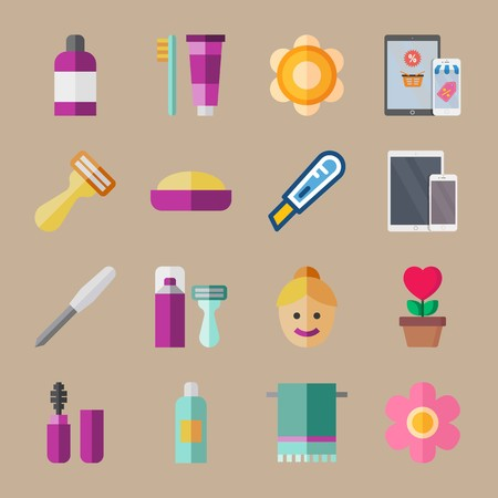 icon set about beauty with shaver, soap and phone