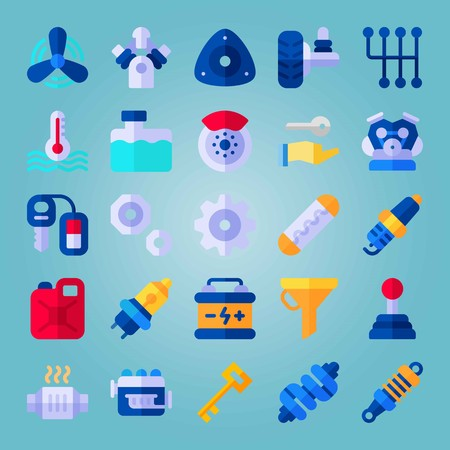 Icon set about Car Engine. with spark, brake and temperature Illustration