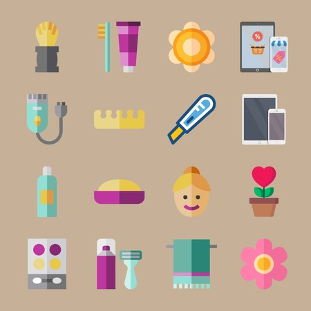 icon set about beauty with cutter, shaving  and toothbrush