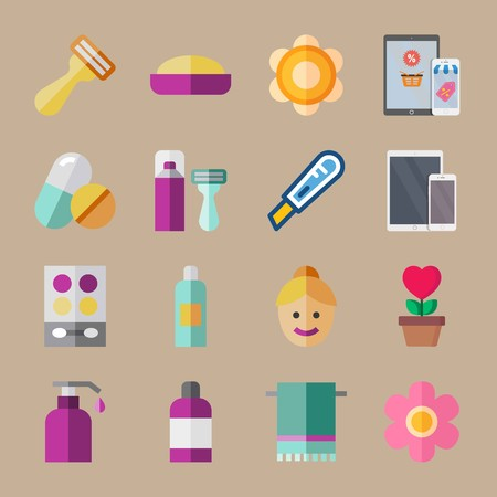 icon set about beauty with shaving set, lotion and aftershaver