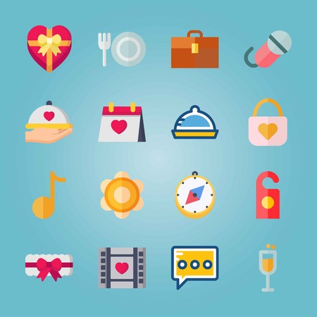 Icon set about Wedding. with microphone, note and dinner