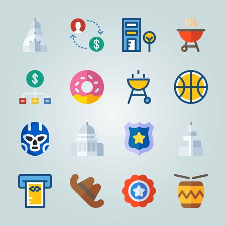 Icon set about United States. with cookie, symbol and police badge Illustration