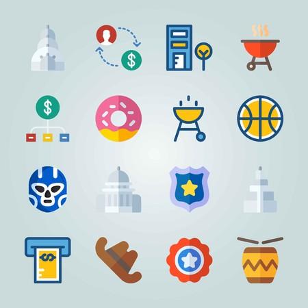 Icône définie sur les États-Unis. avec cookie, symbole et badge de police Banque d'images - 94609148