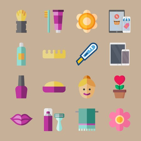 icon set about beauty with towel, kiss and toothbrush Vectores