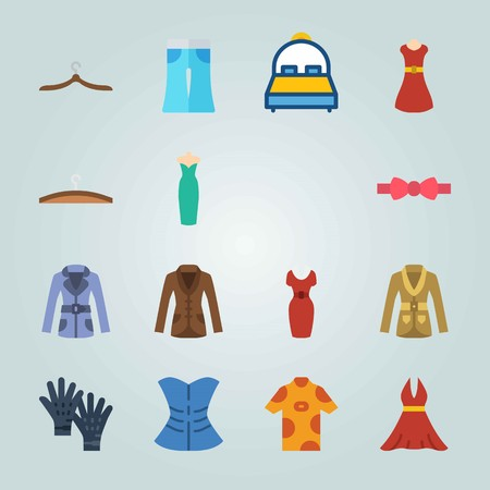 Icon set about Clothes And Accessories. with bow tie, hoodie and shirt