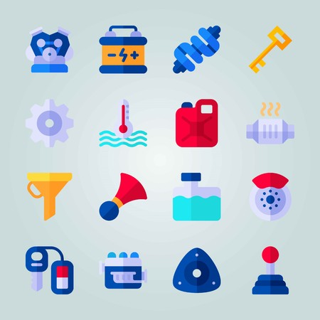 Icon set about Car Engine. with key, car key and battery