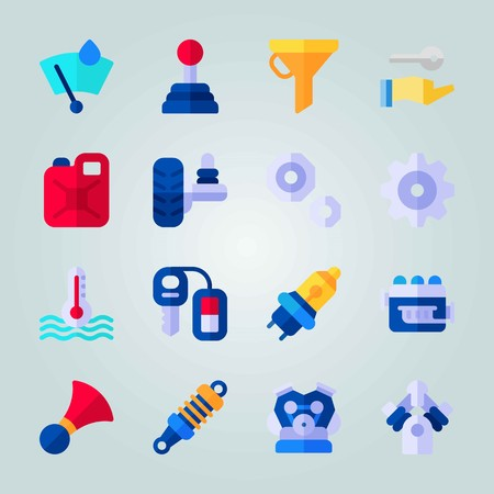 Icon set about Car Engine. with canister, motor and jerry can