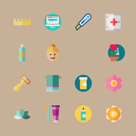 icon set about beauty with toothbrush, dropper and shaver Ilustrace