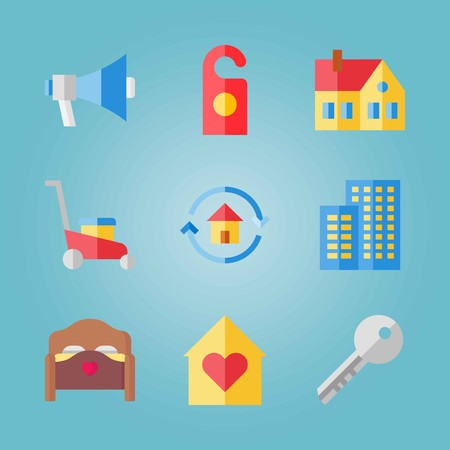 Icon set about Real Assets. with home, door key and bed