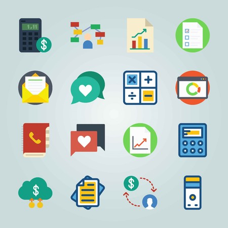 Icon set about Marketing. with browser, letter and device