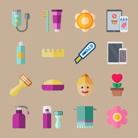 icon set about beauty with balm, toe and phone Ilustrace