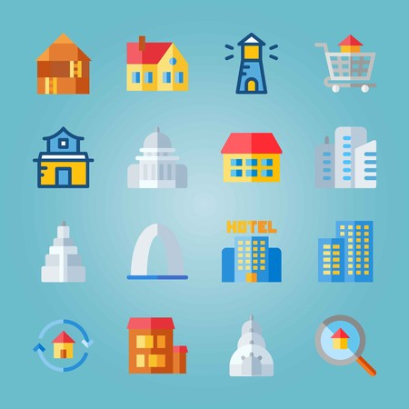 Icon set about Construction. with buildings, loupe and gateway arch