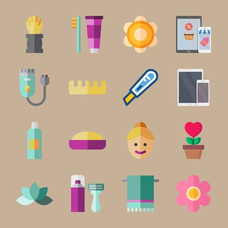 icon set about beauty with shaver, pink flower and flower