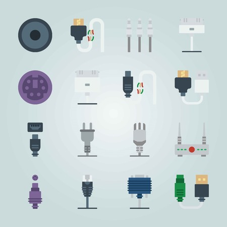 Icon set about Connectors Cables. with broken cable, plug and audio