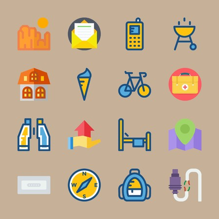 Icon set about Travel. with letter, grand canyon and house