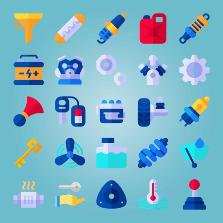 Icon set about Car Engine. with water box, spark and suspension Illustration